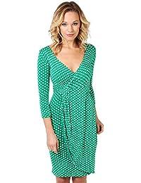 6487-JAD-18: Punkte Kreuzender V-Ausschnitt Jersey Kleid (Jadegrün/Weiß, Gr.46)