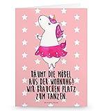 Mr. & Mrs. Panda Grußkarte Einhorn Ballerina - 100% handmade in Norddeutschland - Grusskarte, Geburtstag, Karte, Klappkarte, Tanzen, Pappe, Party, Ballerina, Einhorn, Einladung, Gutscheinkarte, Spaß