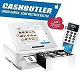 Cashbutler Deluxe ALL IN ONE Multifunktions Kassensystem mit Bondrucker Kassenschublade EC Kartenlesegerät Tabletgehäuse iPad 2 3 4 komplette Kassensoftware GoDB Konform