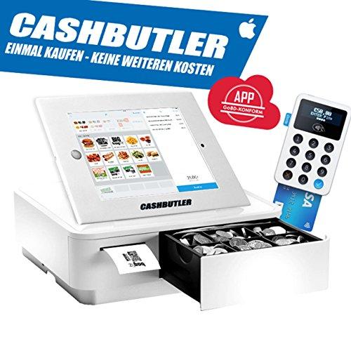 Cash Butler Deluxe ALL IN ONE multifunción kasse Sistema con recibos Caja registradora EC tarjeta lector Tablet Carcasa iPad 234completa kasse Software godb cumple