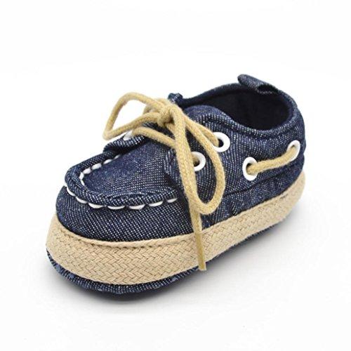 Ouneed® Bebe Naissance Denim Chaussures Lacet Premier Pas Souple (11, Blanc) Bleu