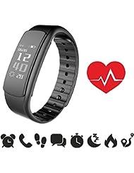emdubro Fitness Armband für Android Smartphone und iPhone, Schrittzähler, Push-Message und Anrufer - ID Benachrichtigung