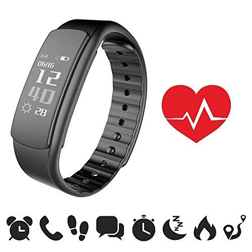 [NUOVA VERSIONE] endubro i7HR - MANUALE E APP IN ITALIANO - Braccialetto fitness con misurazione frequenza cardiaca / fitness tracker / smart bracelet / smartwatch con display Oled e Bluetooth 4.0 per Android e IOS - monitoraggio frequenza cardiaca, contapassi, monitoraggio del sonno, notifiche chiamate/SMS/Whatsapp/Facebook con Android e IOS, foto da remoto