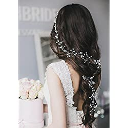 Tocado para el cabello de novia con diseño floral - pelo suelto