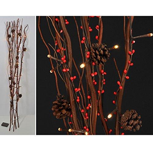 Lichterzweige mit Tannenzapfen und dekorativen roten Beeren, 30 LED, 120cm: LED Beleuchtete Deko Zweige Lichter Dekoration Weidenzweige 120 cm