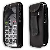 caseroxx Handy-Tasche Ledertasche mit Gürtelclip für Emporia Talk Comfort/Plus aus Echtleder, Handyhülle für Gürtel (mit Sichtfenster aus schmutzabweisender Klarsichtfolie in schwarz)