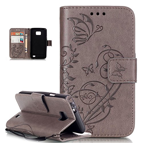 Custodia Galaxy S2,Custodia Galaxy S2 Plus,Custodia Galaxy S2 / S2 Plus, Galaxy S2 Cover, ikasus® Galaxy S2 / S2 Plus Custodia Cover [PU Leather] [Shock-Absorption] Protettiva Portafoglio Cover Custodia Goffratura Vines Fiore Farfalle con Super Sottile TPU Interno Case e Porta carte di credito Custodia Cover per Samsung Galaxy S2 i9100 / S2 PLUS i9105 ,Cover Galaxy S2,Cover Galaxy S2 Plus - Grigio