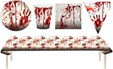 Blutiges Party Set XXL Halloween Horror Blut 38 Teile Teller, Becher, Servietten, Tischdecke, Partygeschirr