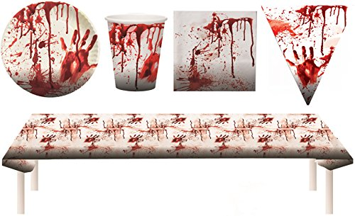 Blutiges Party Set XXL Halloween Horror Blut 38 Teile Teller, Becher, Servietten, Tischdecke, (Party Geschirr Halloween)