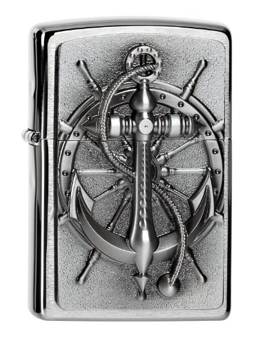 Zippo 200 Nautic Emblem Feuerzeug, Messing, Brushed Chrome, One Size