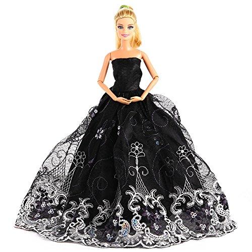 Zantec Für Barbie Doll Party Kostüm Kleidung Stickerei Spitze Brautkleid Trailing Dress