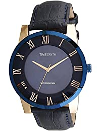 Timesmith Premium Limited Edition Blue Dial Blue Leather Strap Branded Anaog Watch For Men TSM-133