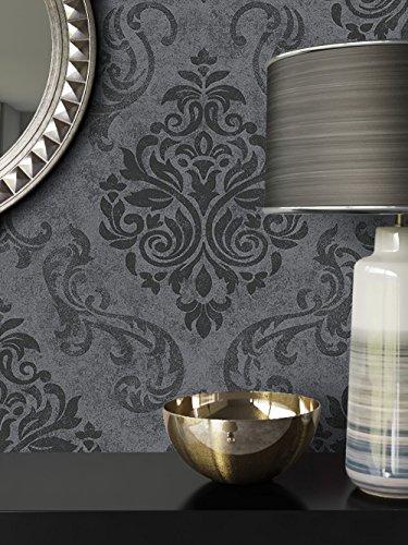 ... NEWROOM Barocktapete Tapete Schwarz Grau Ornament Barock Modern  Vliestapete Vlies Moderne Design Optik Barocktapete Wohnzimmer Glamour ...
