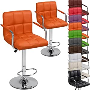 Miadomodo Two Swivel Bar Chairs With Armrest Seat Height Adjustable Stools Orange Home Dining