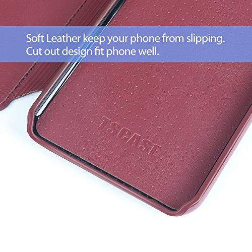 Coque pour iPhone 7 TSCASE Rouge (Etui Range Carte) de Protection Détachable Coque pour iPhone 7 4.7 pouces Rouge