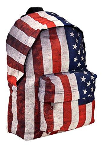 Mini Rucksack Sportrucksack Streetwear City Backpack in USA Stars and Stripes Flaggen Muster (And Stripes-flagge Stars)