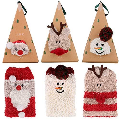suroper Calze di Natale 3Pcs Unisex Carina Babbo Pupazzo di Neve Renna Inverno Calzini Casuali Caldo Morbido per Uomo Donna Ragazza Ragazzo