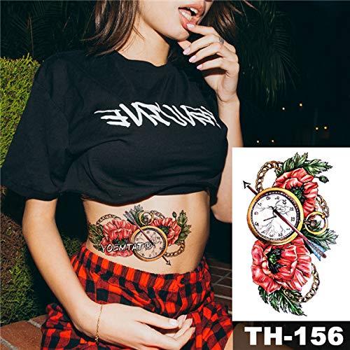 3 Stücke-wasserdichte Tattoo Aufkleber taschenuhr Uhr Muster wassertransfer rot floral Body Art Tattoo Tattoo 3 Stücke-