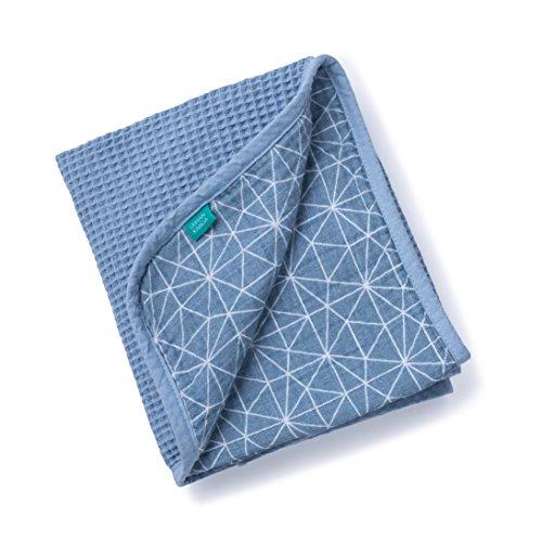 Urban Kanga Musselin Babydecke 2 Lagige | Kuscheldecke | Krabbeldecke | Wickeltuch aus 100% Baumwolle | 100 X 70 cm (Blauer Geo)