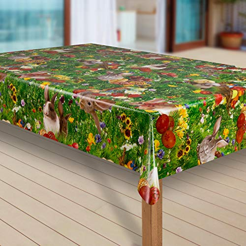 laro Wachstuch-Tischdecke Abwaschbar Garten-Tischdecke Wachstischdecke PVC Plastik-Tischdecken Eckig Meterware Wasserabweisend Abwischbar G12, Größe:40x40 cm Muster, Muster:Ostern Blumenwiese Hase