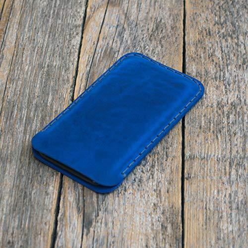 Étui Bleu pour iPhone XS X en Cuir Véritable. Coque Housse Etui Case Cover Pochette