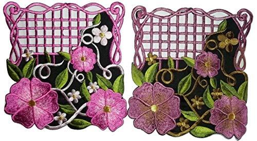 b2see Aufnäher Blumen Jeans Patch Bügelbild Applikation Sticker-Ei Set groß mit Blumen Aufbügler Flicken zum aufbügeln -