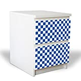 banjado YOURDEA Möbelfolie für IKEA Malm Kommode mit 2 Schubladen/Dekorfolie 2-teilig ca. 40x55cm / Möbelaufkleber Selbstklebend mit Motiv Karo Dunkelblau