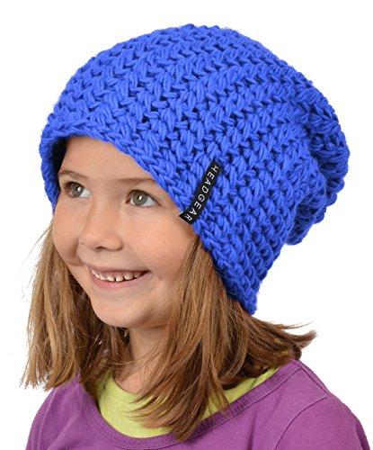 Stylische Oversize Häckelmütze für Mädchen : Mädchen Oversize Häkel Beanie Farbe: royal-blau