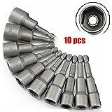 """10 Pcs Douille Hexagonal Torx Magnétique Adaptateur Embout Acier en Chrome Vanadium 6mm-19mm 1/4"""" Nut Driver Drill Bit Set Socket Shank Tool"""