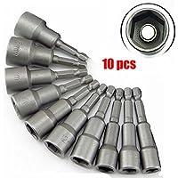 """'malayas® 10 Pcs Douille Hexagonal Torx Magnétique Adaptateur Embout Acier en Chrome Vanadium 6mm-19mm 1/4"""" Nut Driver Drill Bit Set Socket Shank Tool"""