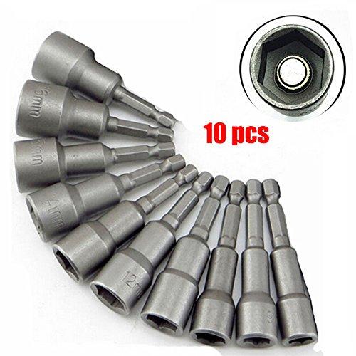 'Malayas® 10 x Muttern Magnetische Bit-Adapter, 6–19mm 1/4 Zoll, Innensechskant-Muttern (für Bohrer oder Akkuschrauber)–Starke Verlängerung von Bohrer-Akku (6/7/8/10/12/13/14/15/17/19mm)