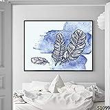 XIANRENGE Nordic Leinwand Druck Poster Malerei Moderne Abstrakte Blaue Feder Muster Minimalistischen Kunst Bild Für Wohnzimmer Wohnkultur 70×100Cm