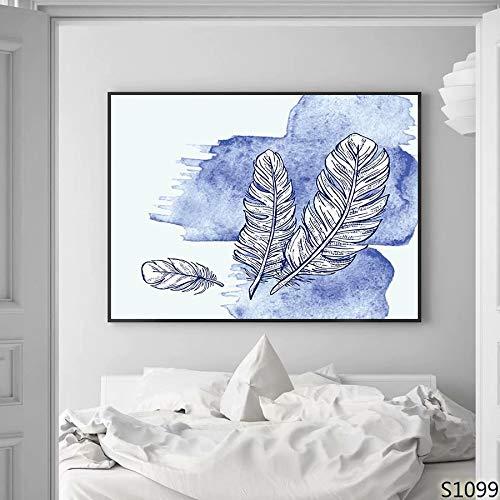 XIANRENGE Nordic Leinwand Druck Poster Malerei Moderne Abstrakte Blaue Feder Muster Minimalistischen Kunst Bild Für Wohnzimmer Wohnkultur 40×60Cm -