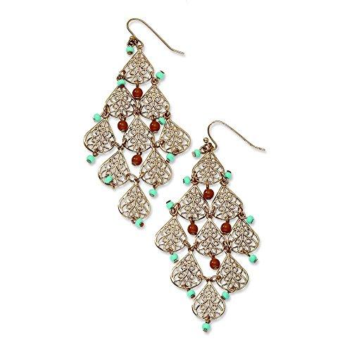 copper-tone-aqua-et-perles-marron-en-filigrane-dangle-lustre-boucles-doreilles