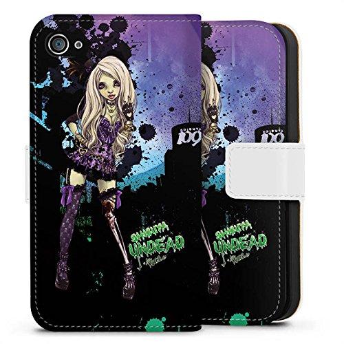 Apple iPhone X Silikon Hülle Case Schutzhülle Art Mädchen Comic Sideflip Tasche weiß