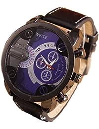 Relojes Hombre,Xinan Análogos de Lujo Deporte Caja Acero del Cuero Cuarzo Reloj Pulsera (Azul)