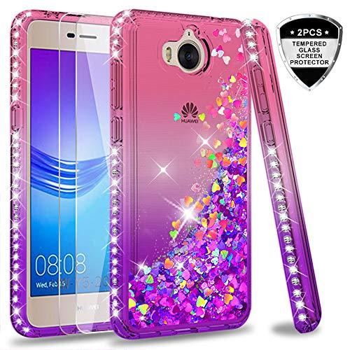 LeYi Hülle Huawei Y6 2017/Y5 2017/Y5 II 2017/Y5 Pro Glitzer Handyhülle mit Panzerglas Schutzfolie(2 Stück),Cover Diamond Bumper Schutzhülle für Case Huawei Y6 2017 Handy Hüllen ZX Gradient Pink Purple - Pink Cover Schutzfolie