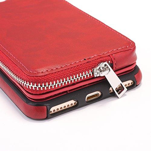 Phone Case & Hülle Für iPhone 6 Plus & 6s Plus Abnehmbare Umdrehung TPU + Leder Schutzhülle mit Reißverschluss Wallet Bag ( Color : Grey ) Red