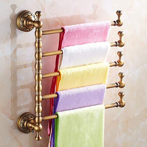 MYYDD Tuchstäbe für Badezimmer Kupfer-Bad Toilette Handtuchhalter Swivel Handtuchhalter Speicher-Organisator Hanger Wandhalterung,5rods