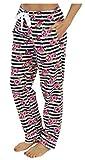 PajamaMania Flanell Pyjama Hose für Damen, Streifen mit Blumen (PMF1001-2061-UK-XS)