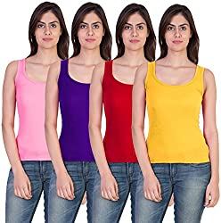 Combo of 4 Tank Top Vest Camisole Sando for Women Pink Blue Red Yellow Color Small Size