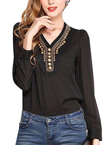Minetom Damen Frauen Elegant Casual Mode Tunika Bluse V-Ausschnitt Metall Dekoration Langarm Oberteil Tops Fit T-Shirt Club Party Schwarz DE 38 (Metallischen Ärmel Kurze Pullover)