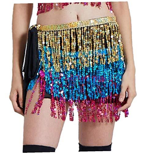 Angoter Weibliche Bauchtanz-Hüfte-Tuch-Tassel Bauchkette Indischer Tanz-Hüfte-Schal Frauen Pailletten Gürtel Oriental Bauchtanz-Kostüm-Zusatz Gold-Blau Rot (Weibliche Indische Kostüme)