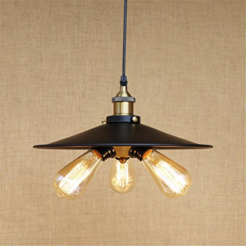 Moderne minimalistische drei Lampenfassungen Retro hängende Lampe, schwarze Hut-Modellierung, kann wählen, ob, um Lichtquelle zu begleiten , With Edison Bulb System-modellierung