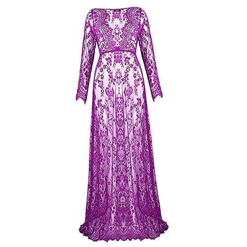 MagiDeal V-Ausschnitt Schwangere damen Spitze mode lange Hülsen reizvolle Abendkleid - Lila, XL (Bodenlange Robe)