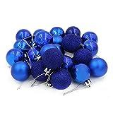 COOLWEST 24-teilig Weihnachtskugel-Set Weihnachtskugeln Christbaumkugeln Weihnachtsbaumschmuck Baumkugeln (Blau)