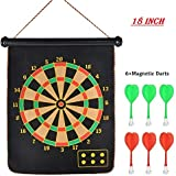 Prime Deals Latest Roll-up Magnetic Dart Board Set 18 Inch Double Sided Hanging Wall Dartboard With 6 Safety Darts Needles