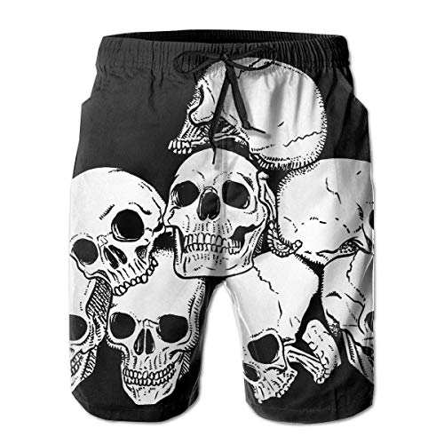 Nacasu Men's Swim Trunks Skull Pile Casual Sportswear Quick Dry Beach Shorts for Boys Summer XL