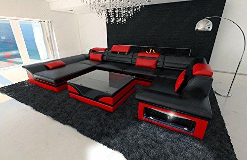 Luxus Wohnlandschaft Enzo LED schwarz rot - 3