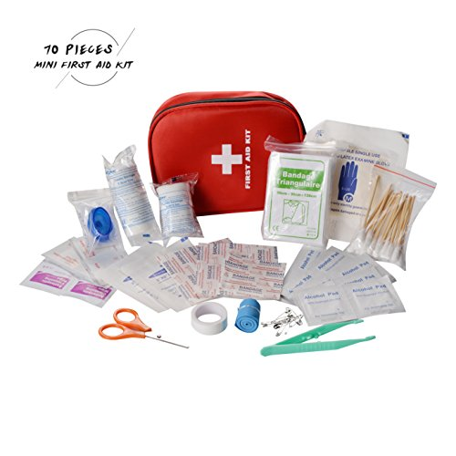 CAMMATE Emergency First Aid Kit Waterproof , 70 Pieces Medical Supplies Survival Bag Mini Survival Pouch for Home , Travel , Vehicle , Office , Hiking , Child Care